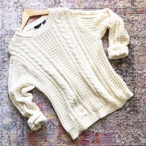 Vintage | Cream Cable Knit Fisherman Sweater L